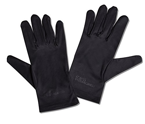 SWISS REIMAGINED Inspection Gloves - Touchscreen Compatible - Lint Free Microfiber - Large - Black (Screen Swiss)