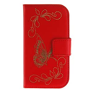 Purchase Butterfly Pattern PU Leather Full Body Case for Samsung I8190(Assorted Color) , White