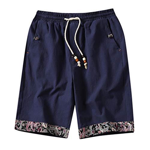 BingYELH Men Boardshorts Linen Floral Print Drawstring Quick Dry Hawaiian Shorts Quick Dry Casual Shorts Elastic Waist Navy