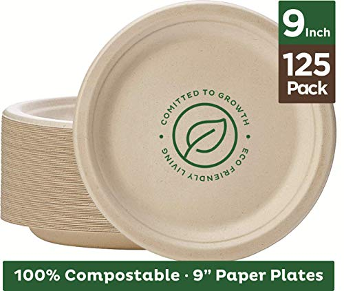 Brown Plates Paper - Stack Man 100% Compostable 9