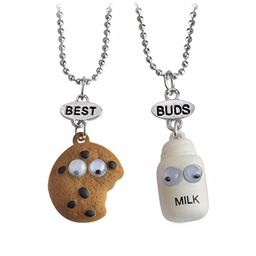 Best Buds Cute Milk and Cookie Friendship Pendant Necklaces Set of 2