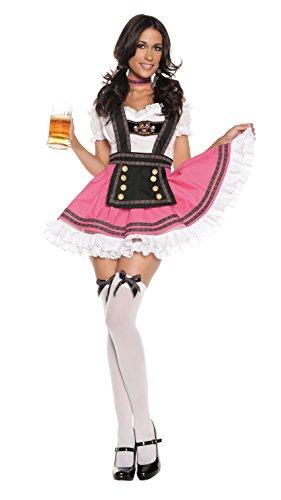 Starline Women's Fancy Beer Girl Costume Dress Set, Pink, Small (Sexy Beer Maiden Costume)