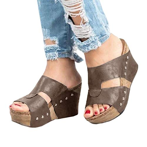 - Syktkmx Womens Slip on Platform Wedge Slides Cutout Open Toe Gladiator Sandals with Heels