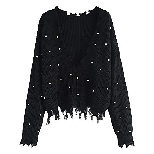 (ZAFUL Women's Solid V Neck Loose Sweater Long Sleeve Ripped Jumper Pullover Knitted Crop Top (Black-Faux)
