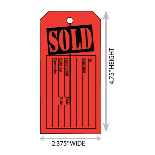 Large (2.375'' X 4.75'') Red/Black Sold Button Slot Merchandise Tag. Case of 2,000 Tags.