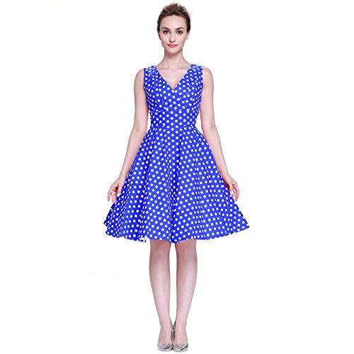 Heroecol Womens Vintage 1950s Dresses V Neck Sleeveless 50s 60s Style Retro Poka dot Swing Cotton Dress Size S Color Blue With