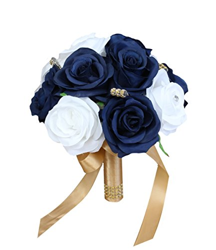 - Angel Isabella Build Your Wedding Package-Artificial Flower Bouquet Corsage Boutonniere Rose Calla Lily Navy Gold Wedding Theme (7