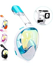 QingSong Newest Version Full Face Snorkel Mask with Safety Free Breathing System, 180 Degree Panoramic Snorkel Set with Detachable Camera Mount Anti-Fog Anti-Leak Anti-UV
