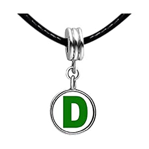 Chicforest Silver Plated Green Letter D Photo Sapphire Crystal September Birthstone Flower dangle Charm Beads Fits Pandora Charms