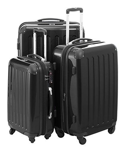HAUPTSTADTKOFFER® Hartschalen Koffer · 3 Koffergrößen (42 Liter · 74 Liter · 119 Liter) · Hochglanz · Entweder mit Normalen oder TSA Zahlenschloss + DESIGN KOFFERANHÄNGER (SET, Schwarz)