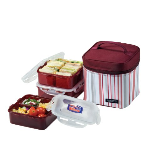 LOCK & LOCK Square Lunch Box 3-Piece Set with Insulated Stripe Bag, (Tiffin Set)