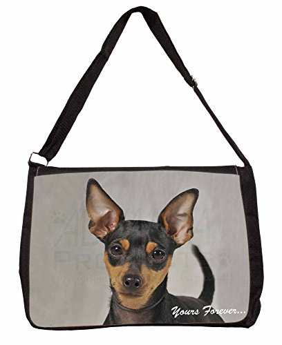 Miniature Pinscher Yours Forever Large 16 Black School Laptop Shoulder Bag