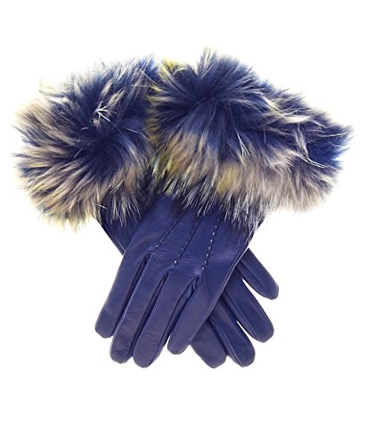 (Fratelli Orsini Women's Italian Fox Fur Cuff Cashmere LIned Leather Gloves Size 7 1/2 Color Blue)