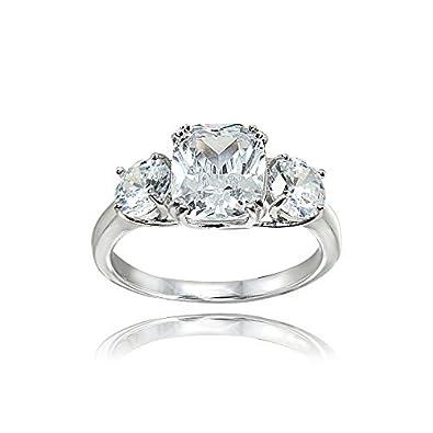 Sterling Silver Cubic Zirconia Cushion Cut 3 Stone Royal Engagement Wedding Ring