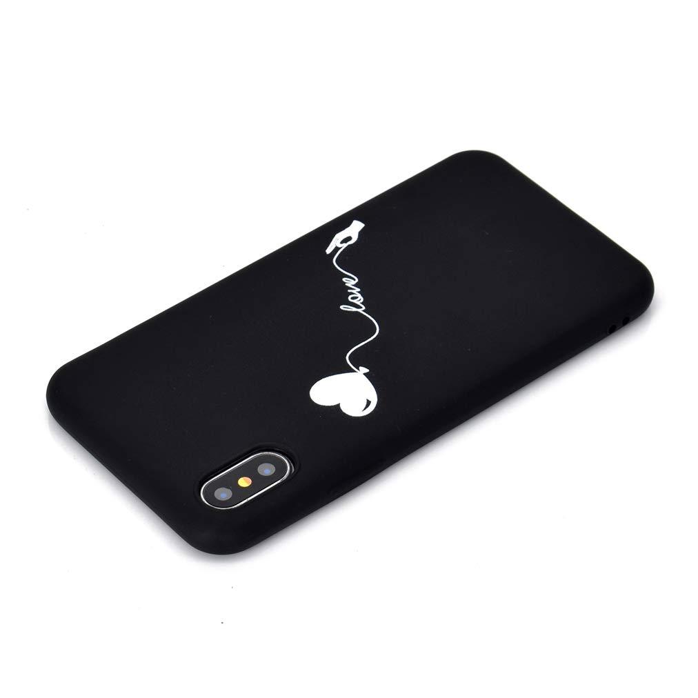 Rongecr Funda Negro con iPhone XS Carcasa Silicona TPU Suave Ultra Delgado Flexible Antideslizante Patr/ón Noble iPhone XS Soft TPU Case Amor Globo