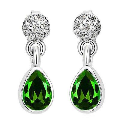 Strass brillant élégant Vert & E877 Boucles d'oreilles en forme de goutte
