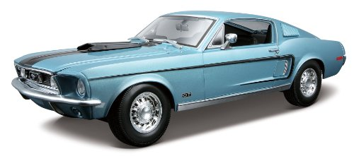 Maisto 1968 Ford Mustang GT Cobra Jet Hard Top 1/18 Scale Diecast Model Vehicle Blue ()