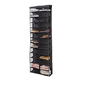Simplify 26 Pocket Over-The-Door Shoe Organizer-Black