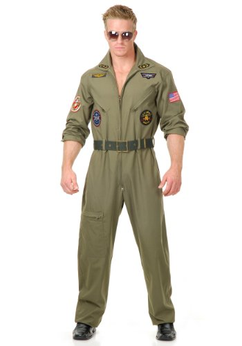 Charades Men's Plus-size Wing Man Costume Adult Costume, olive, (Top Gun Costume Womens Jumpsuit)