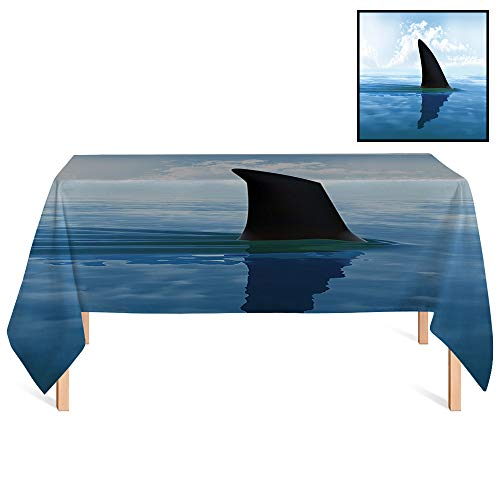 SATVSHOP Kitchen Tablecloth /36x55 Rectangular,Shark Shark Fish Fin Over The Sea Surface Danger Caution Themed Grey Violet and Light Blue.for Wedding/Banquet/Restaurant.