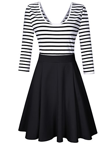 V Neck Striped Dress (Black) - 1