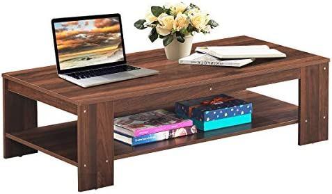 Giantex Coffee Table 2-Tier W Storage Shelf, Industrial Rustic Rectangular Table for Living Room, Office Bedroom, Accent Furniture Tea Table Walnut