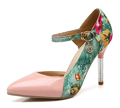 Toe Aisun Floral Elegant Dress Dorsay Heels High Pointed Stiletto Shoes Strap Pink Ankle Womens Pumps 4ArAFI