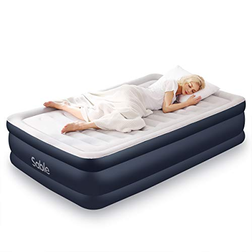 Sable Air Mattress Full Size Inflatable Bed 2019 Upgraded Blow up Airbed with Built-in Electric Pump & Storage Bag, Height 18""
