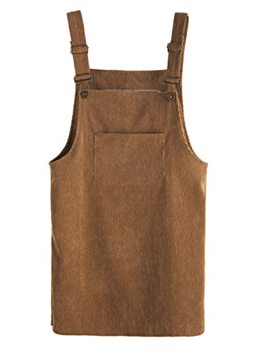 MAKEMECHIC Women's Bid Strap Pocket Dungaree Mini Overall Dress Brown M