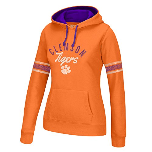 J America NCAA Clemson Tigers Women's Essential Arm Stripe Hoodie, X-Large, Orange/Purple (Tigers Orange Sweatshirt Clemson)