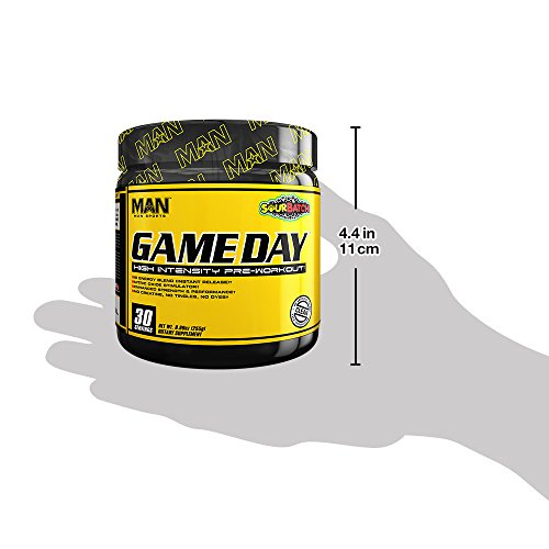 MAN Sports Game Day High Intensity Pre-Workout Supplement, Sour Batch, 255 Gram