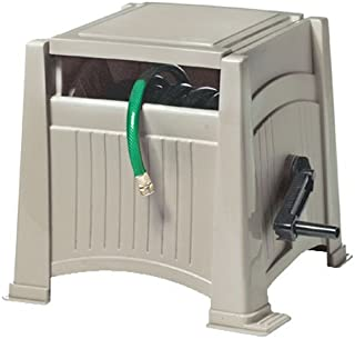 product image for Suncast Resin Outdoor Hose Hideaway with Lid - Durable Hose Storage Reel with Crank Handle, Watertight Connection, and Lid - 165' Hose Capacity - Taupe