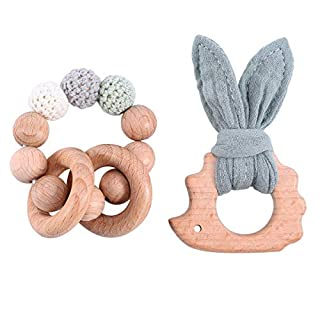 Set of 2 Lovely Cotton Rabbit Ears Wooden Hedgehog Teether Toy Food Grade Materials Crochet Beads Nursing Bracelet Organic Woodensensory Activity Teether Rattle Toys for Newborn