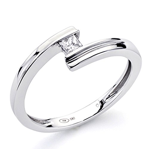 Bague 18k or blanc diamant princesse 0,1ct 1 [7344]