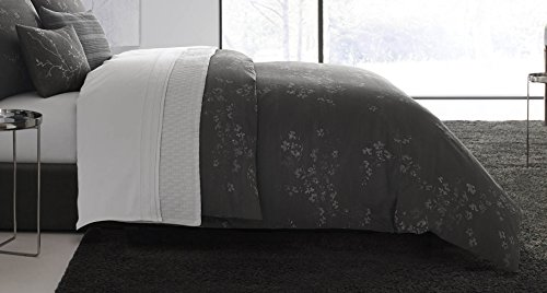 Vera Wang Floral Comforter Set, Queen, Charcoal