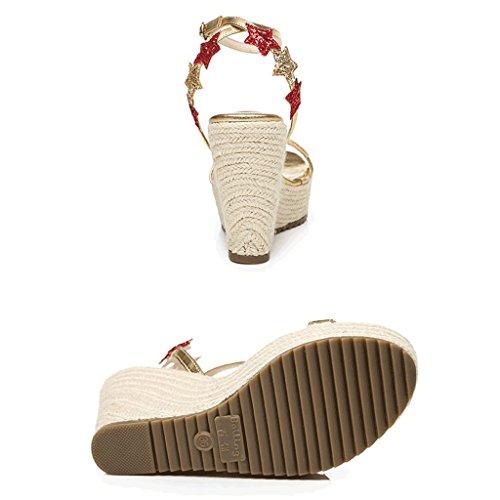 Open Alto colore Cuneo Donne Del Nude Scarpe La Dei Dimensioni Col Oro Delle toe Eleganti L'oro Sexy Sandali Spessore Di Tessere Con Suola Tacco 34 Scarpe 1rRF1q0