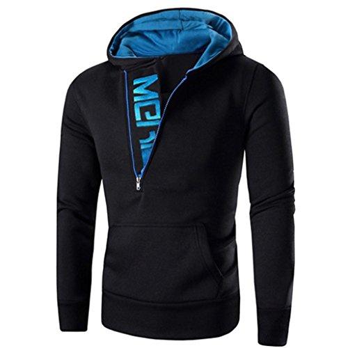 [Sikye Men Zipper Long Sleeve Hoodie Long Sleeve Hooded Sweatshirt Tops Activewear (XXXL, Blue)] (Plus Size Cheerleading Uniforms)