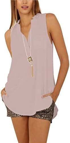 Eliacher Women's Casual Summer Tops Women Blouse Sleeveless Shirt