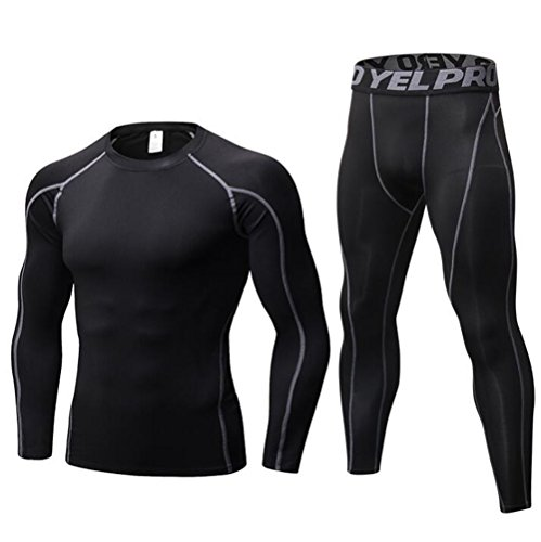 Mens Workout Compression Breathable Tracksuits Long Sleeves Long Pants 2 Pieces Sportswear...