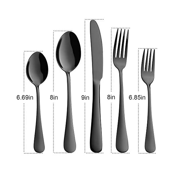 Black Silverware, Devico 20-Piece Stainless Steel Metal Flatware Utensils Cutlery set for 4, Mirror Polished, Dishwasher… 2