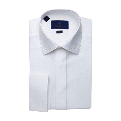 David Donahue Diamond Pattern Trim Fit Formal Tuxedo Shirt - Size 17.5, 36/37 White
