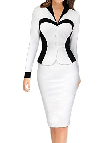 Sleeve OL Career Wear To Work Office Dress (White Career Dress)