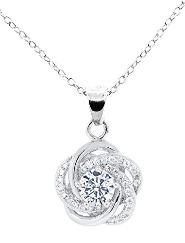 Jade Marie Flowing Silver Flower Shaped Pave Pendant Necklace, 18k White Gold Plated Round Halo with Cubic Zirconia Crystals, Hypoallergenic Sparkling Pendant Necklaces for Women, Bridesmaid Jewelry