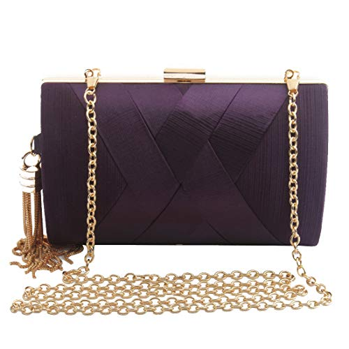 Women's Elegant Tassel Pendant Silk Evening Bag Clutch Purse for Bride Wedding Prom Night Out Party (PURPLE)