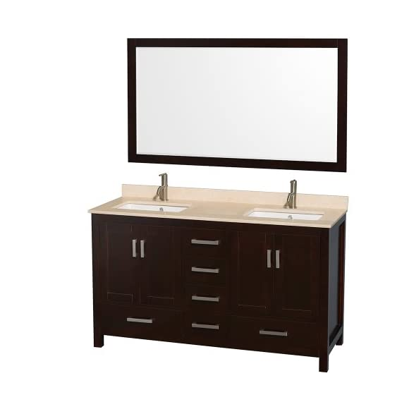 "Wyndham Collection Sheffield 60 inch Double Bathroom Vanity in Espresso, Ivory Marble Countertop, Undermount Square… - Constructed of environmentally friendly, zero emissions solid wood, engineered to prevent warping and last a lifetime. 12-stage wood preparation, sanding, painting and hand-finishing process. Highly water-resistant low V.O.C. sealed finish. Beautiful transitional styling that compliments any bathroom. Practical Floor-Standing Design. Minimal assembly required. Deep Doweled Drawers. Fully-extending under-mount soft-close drawer slides. Concealed soft-close door hinges. Metal exterior hardware with brushed chrome finish. Plenty of storage space. Four (4) functional doors. Five (5) functional drawers. Faucet(s) not included. 3"" backsplash. - bathroom-vanities, bathroom-fixtures-hardware, bathroom - 4123eFetbbL. SS570  -"