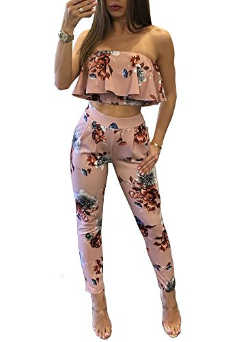 Women's Sexy Sleeveless Backless Two Piece Bodycon Jumpsuit with Pocket Pink XL
