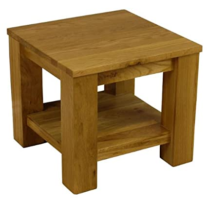 Solid Oakland Chunky Oak Lamp Table With Shelf Side End Table Living Room Furniture