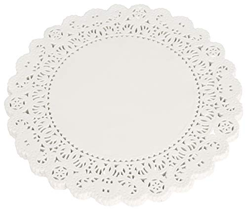 School Smart Paper Die-Cut Round Lace Doily, 8 in, White, Pack of 100 ()