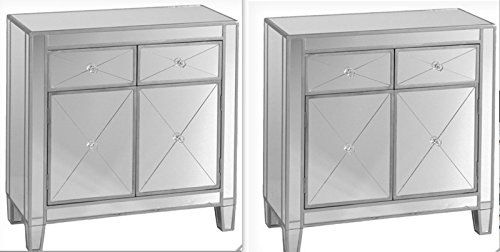 amazoncom set of 2 mirrored hollywood glam dresser bedroom chest storage drawers nightstand kitchen u0026 dining - Mirrored Dresser Cheap