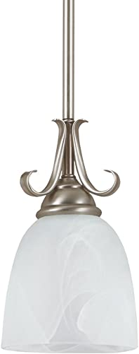 Sea Gull Lighting 61316-965 Pendant with Cafe Tint Glass Shades, Antique Brushed Nickel Finish
